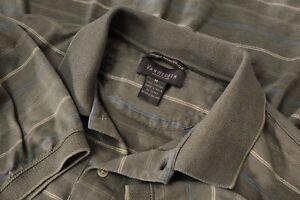 Men-s-Gray-Striped-Van-Heusen-Polo-Shirt-Short-Sleeve-Size-Medium-M-100-cotton