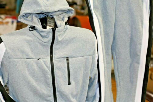 Men/'s Jogging Suit Fashion Track with Jacket /& Pants Grey White and Black