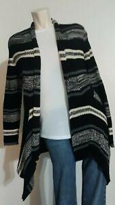 St John's Bay Women's Knit Open Cardigan Sweater Striped Irregular Hem Size L