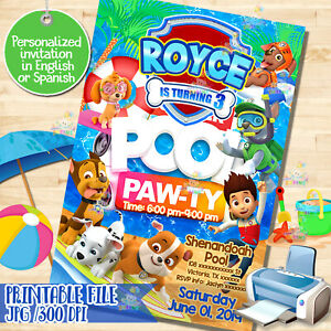 graphic relating to Printable Paw Patrol Invitations identify Data regarding printable PAW PATROL invitation, Paw-ty, Pool bash, Birthday Invitation! Digita