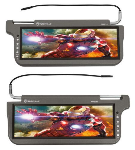 "2 Rockville RPSV12-GR 12.1/"" Grey//Gray Car Sun Visor Monitors//High Definition!"