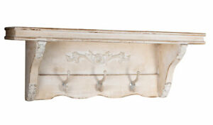 Etagere-Murale-Vintage-Vestiaire-Blanc-Tableau-Etageres-a-Suspendre-Shabby-Bois