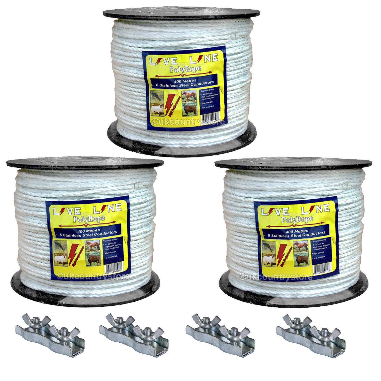 3 x 400m Corda bianca Electric Fencing con 4 collegareors