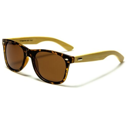 Classic Retro Frame Polarized Lens Wooden Bamboo Arms Polarised Sunglasses