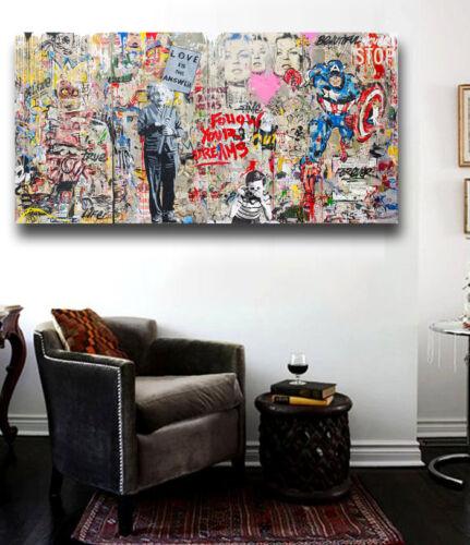 Graffiti art Einstein Mural 60 x 40 Canvas Print Giclee  Brainwash//Banksy custom