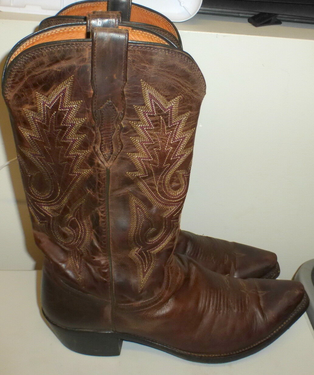 LUCCHESE M1002 CLASSICS LEWIS MADRAS GOAT LEATHER WESTERN COWBOY BOOTS 9.5D