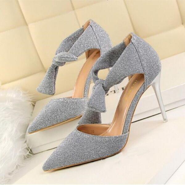 sandalias zapatos de salón elegantes talón 9.5 cm elegantes salón tacón de aguja plata como piel ef6281