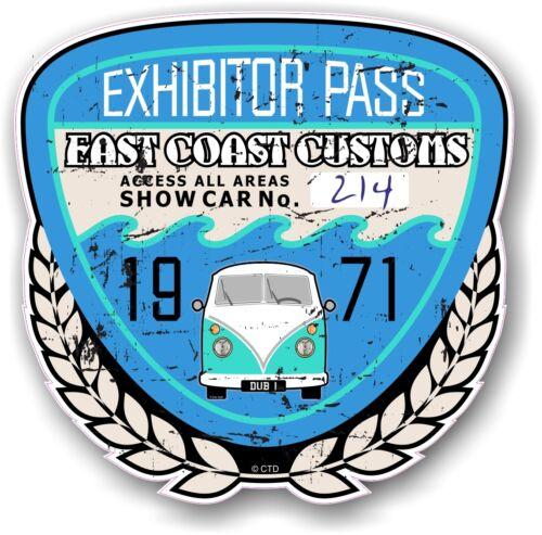 Retro Distressed Custom Car Show EXHIBITOR PASS 1971 Vintage Vinyl sticker decal