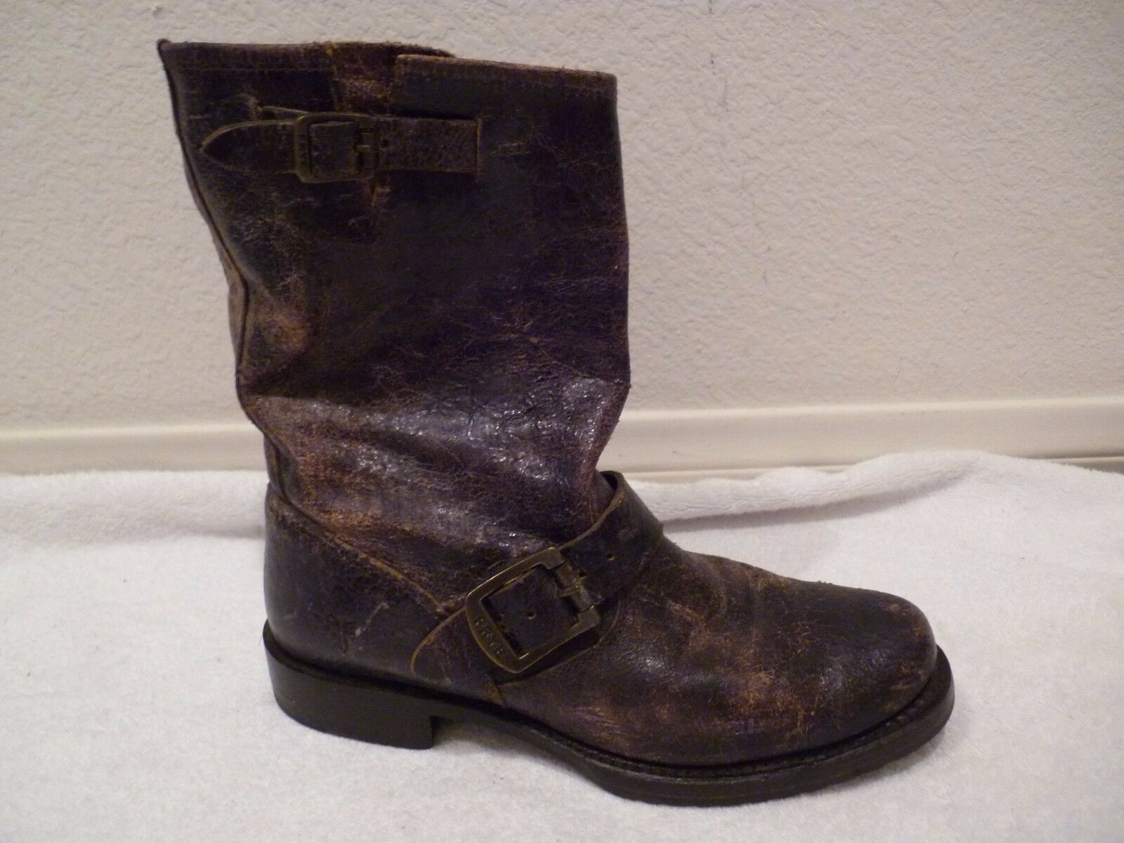 Frye Phillip Studded Harness Glazed Crackle Brown Leather ankle Boots SZ 6.5 EUC