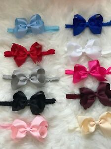 Big-Bow-On-Frilly-Elastic-Bands-Baby-Girls-Headbands-Bow-Soft-Headbands-Lot