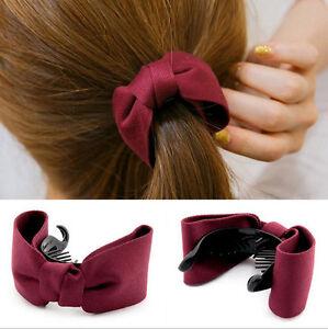 Fashion-Women-Banana-Fish-Hair-Clips-Bowknot-Ponytail-Holder-Hair-Accessory
