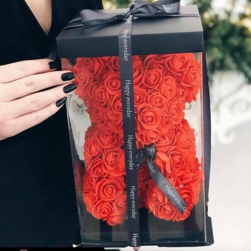 Weihnachtsgeschenk Rose Bear Flower Valentinstag Party Love Teddy 25cm Box Rot