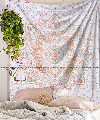 Queen Size Tapestry Wall Hanging Cotton Fabric Gold Flower Ombre Mandala Bedding
