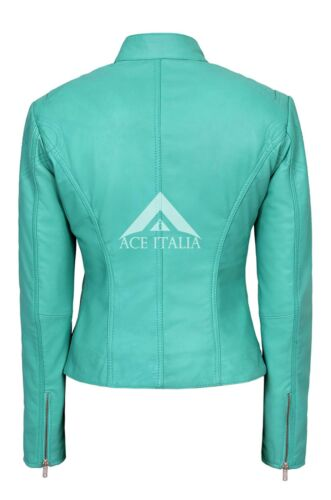 Biker 01 Sr Motorcycle pelle Turquoise Cool in Style Giacca da donna Retro 0WPP4q