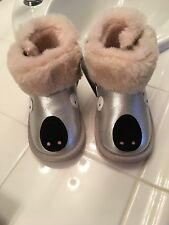 EMU Australia Koala Silver Kids Toddler Deluxe Wool Furry Boots 18 To 24 Months