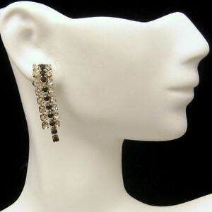 Vintage-Earrings-Black-Clear-Rhinestones-Dangles-Pierced-Posts-Nice-Sparkle
