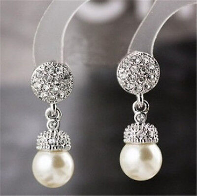 18K White Gold GP Austrian Crystals Fashion Jewelry Studs Ear Earrings BR1351