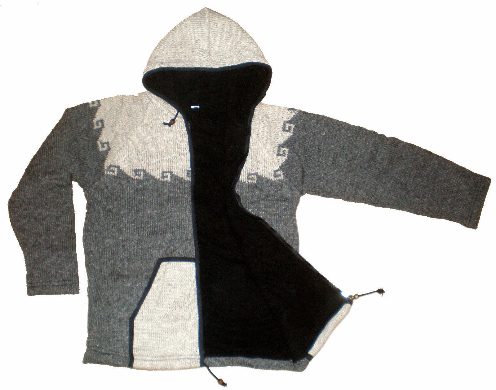 HAND KNITTED WARM WOOLLEN FLEECE WINTER SHERPA JUMPER HOODIE FROM NEPAL - MEDIUM