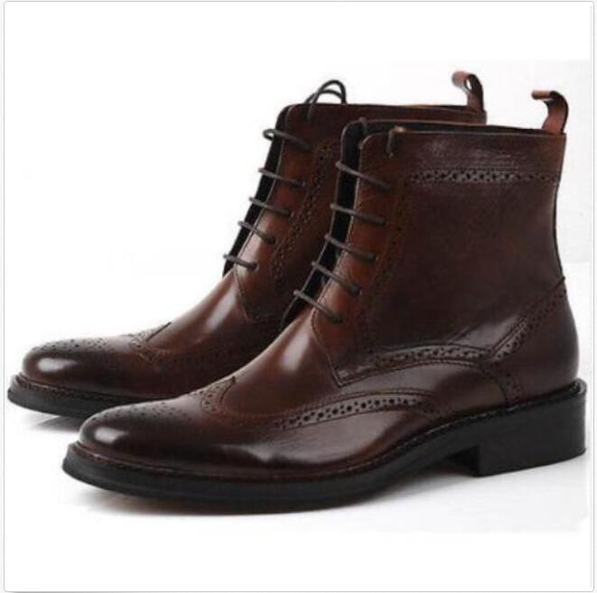 Para hombres Cuero Genuino Oxford Brogue punta del Cuero ala Botas Con Cordones De Cuero del Zapatos Militar 7aecb9