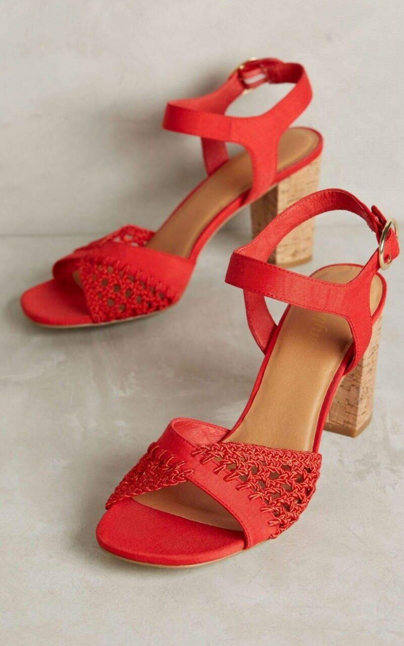 Anthropologie rouge Cork Block Heel Sandals Taille 8.5   128