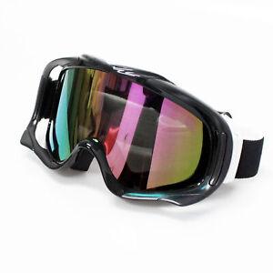Unisex-Men-Adult-Wind-UV-Ski-Snow-Snowboard-GOGGLES-Skiing-Glasses-Black-Frame