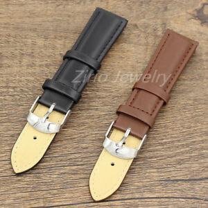 Men-039-s-Watch-Band-Replacement-Black-Brown-Genuine-Leather-20mm-Watch-Strap-Buckle