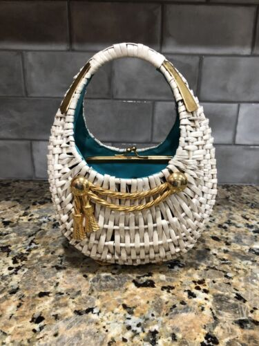 Vintage 60s Koret White Wicker Pocketbook RARE