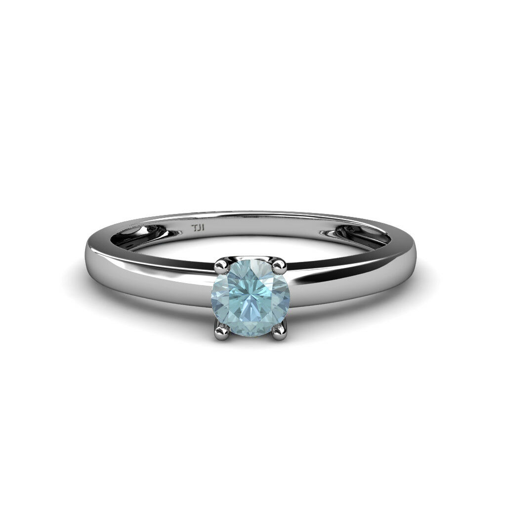 5 mm Aquamarine Solitaire Engagement Ring 0.55 ct in 14K gold JP 83228