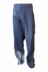 Armani Para Hombre Pantalones De Pierna Recta De Algodon Emporio Armani Rayas Azul L Ebay