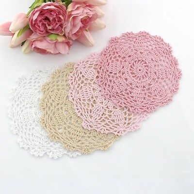 Crochet doilies white , cream , lt pink , pink 16-17 cm for millinery , crafts