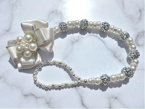 Ivory Silver Shamballa Diamante Luxury Crystal Bling Baby dummy clip chain