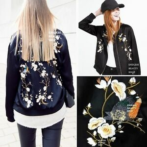 Oriental-FLORAL-EMBROIDERED-BOMBER-JACKET-Womens-Embroidery-Satin-Baseball-Coat