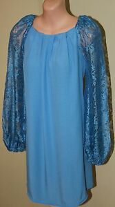 Womens-Blue-Lace-Sleeve-Shift-Dress-BNWT-Forever-New-Size-6