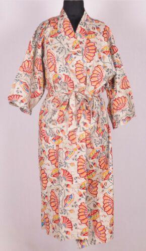 Indian Printed Cotton Nightwear Robe Block Print Women/'s Kimono Gown Maxi Dress,