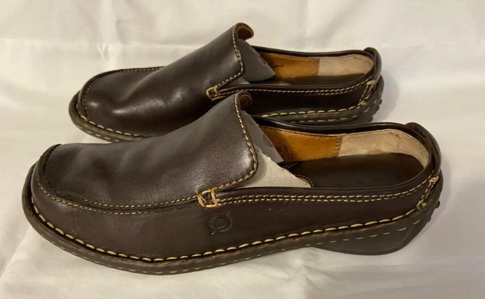 NWOT BORN Sz 6 ~ 36.5 Brown Leather Clogs Mocs Mules B8042 E3