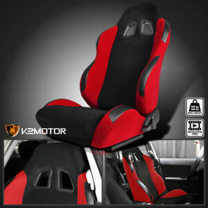 Driver-Side-Black-Red-Cloth-PVC-Leather-Reclinable-Sports-Racing-Seat-w-Sliders