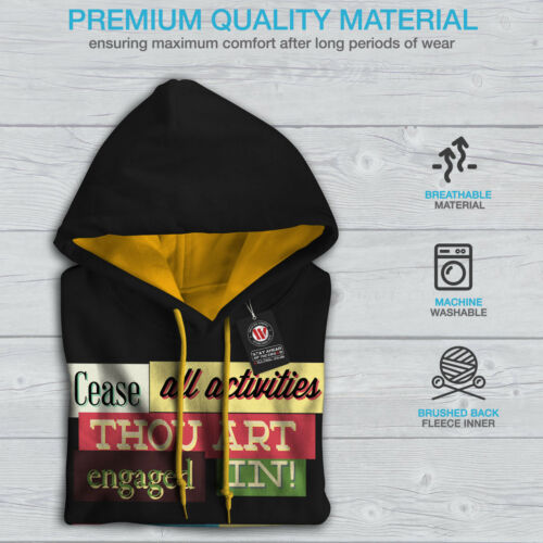 New Contrast Hood Slogan Hoodie Men Funny Hammer gold Time Black 4qgxZ