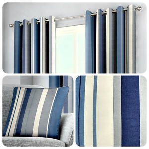 Fusion-WHITWORTH-STRIPE-Blue-100-Cotton-Ready-Made-Eyelet-Curtains-amp-Cushions