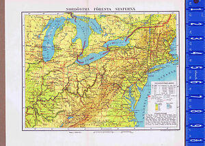 Details about Northeast United States & Great Lakes Swedish Map Inserts 1949