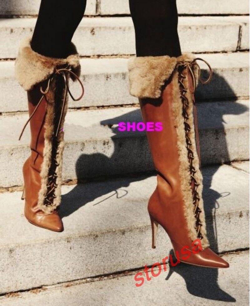 Mujer Retro Puntera Puntiaguda Zapato Taco Alto Montar Ribete De Piel Rodilla alta botas de Montar Alto Talla 770dc3