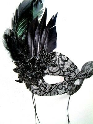 MASQUERADE BURLESQUE BLACK FEATHER HEN PARTY EYE MASK WITH BEADED FLOWER