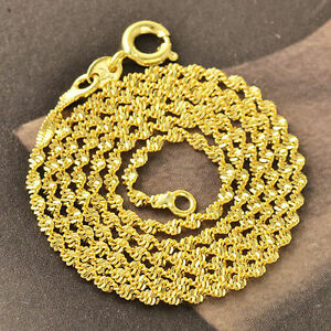 10K-Yellow-Gold-Filled-GF-Water-Wave-Chain-Necklace-45-5cm-Long-2mm-Wide