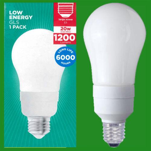 20W Low Energy CFL Light Bulbs,GLS; ES Globes 1200 Lumen 2700K E27 Lamps