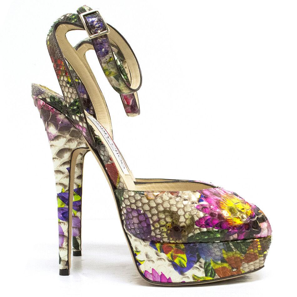 1495 Jimmy Choo Lola Peep Toe Sandals Sandals Sandals Floral Flower Python Platform Pumps 38.5 1defa0