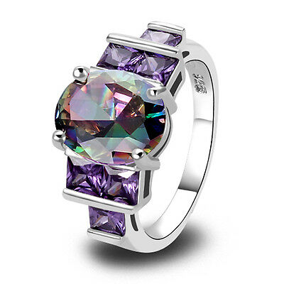 Rainbow Topaz Amethyst Gemstone Jewelry Silver Ring Size 6 7 8 9 10 Free Ship
