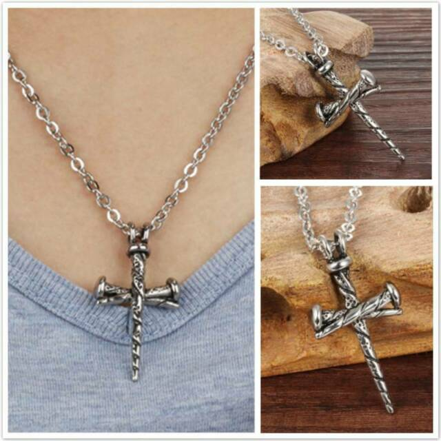 Small Inverted cross pendant choker necklace with stainless steel chain