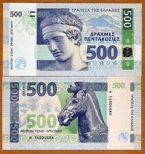 Greece 500 Drachma Drachmas Drachmai 2014 UNC SPECIMEN Test Note Banknote Hologr