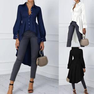 ZANZEA-Women-Lantern-Sleeve-Casual-Long-Shirt-Tops-Lapel-Tunics-High-Low-Blouse