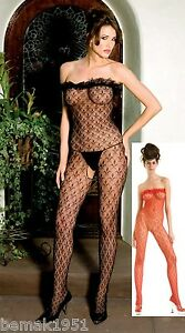 Black-Lace-Bodystocking-Strapless-Ruffle-Trim-Open-Crotch-One-Size-Music-1461