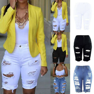 Women-Elastic-Destroyed-Hole-Leggings-Short-Pants-Denim-Shorts-Ripped-Jeans